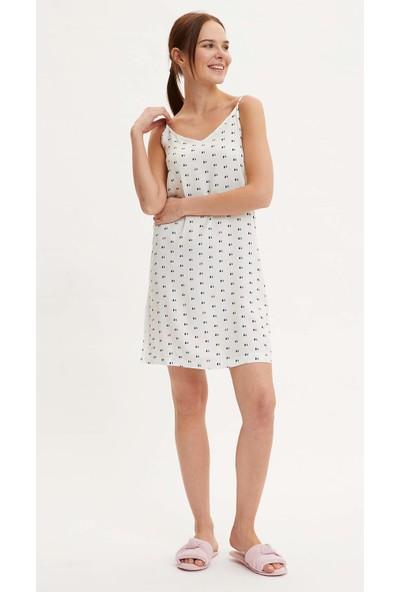 DeFacto Kadın Askılı Puantiyeli Dokuma Elbise
