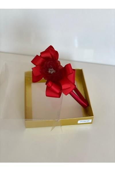 Queen Accessories Kırmızı Çiçek Broşlu Anne Kız Çocuk Bebek Taç