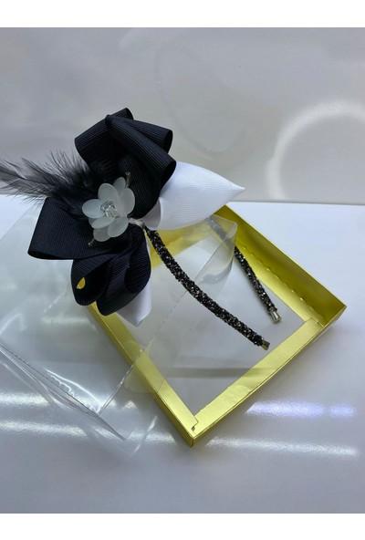 Queen Accessories Siyah Beyaz Çiçek Broşlu Luxury Anne Kız Çocuk Kına Düğün Tak Çıkar Taç