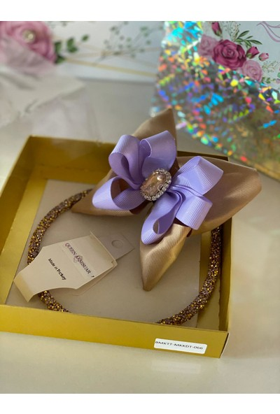 Queen Accessories Kahverengi - Mor Kristal Taşlı Luxury Anne Kız Çocuk Kına Düğün Tak Çıkar Taç