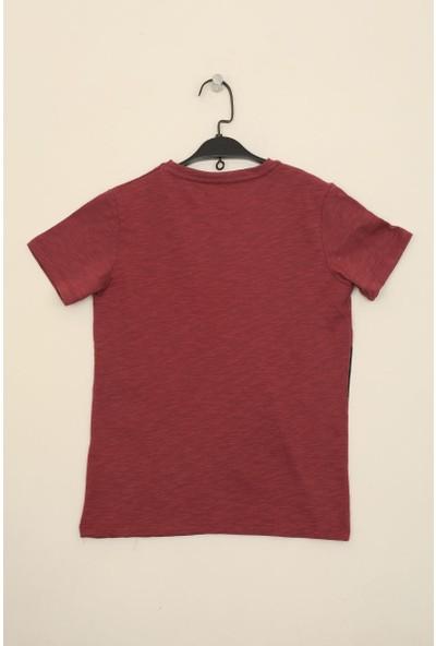 Tommy Life Bordo Erkek Çocuk Renkli Yazı Baskılı Dar Kesim O Yaka T-Shirt-10613