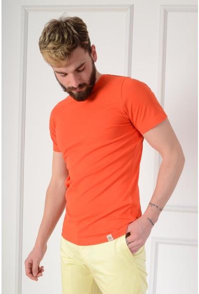Luppo Club Basic Slim Fit Nar Çiçeği Erkek T-Shirt Xxl