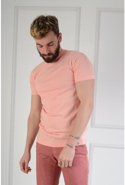 Luppo Club Basic Slim Fit Pembe Erkek T-Shirt Xl
