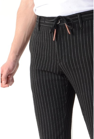 Luppo Club Gofre Yazlık Kumaş Slim Fit Siyah Erkek Pantolon 34