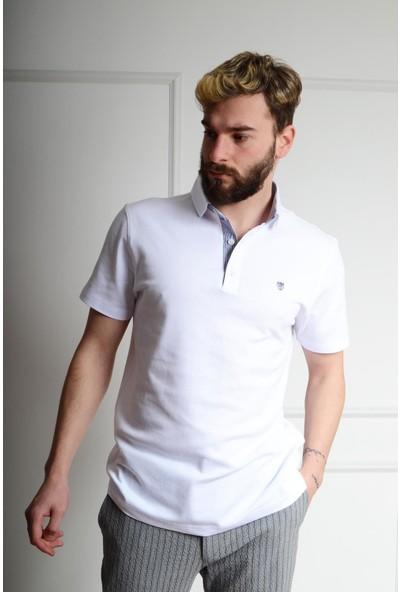 Luppo Club Polo Desenli Yaka Slim Fit Beyaz Erkek T-Shirt M