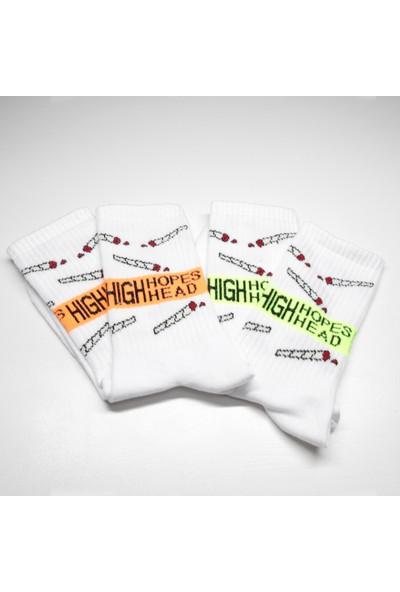 Peajack High Hopes Head Yazılı Neon Renk Özel Tasarım Soket Çorap Seti
