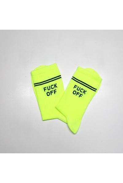 Peajack F.ck Off Yazılı Neon Yeşil Özel Tasarım Soket Çorap