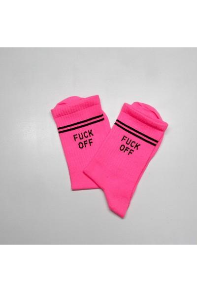 Peajack F.ck Off Yazılı Neon Pembe Özel Tasarım Soket Çorap