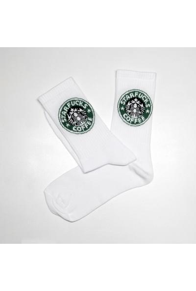 Peajack Starfucks Caffee Logolu Özel Tasarım Beyaz Soket Çorap