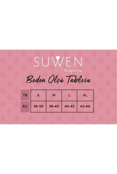 Suwen Latte Lace Saten Pijama Takımı - Bordo M