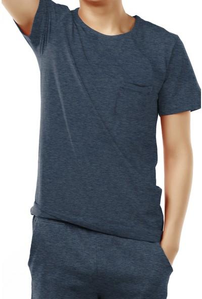Penti Erkek Solid Navy Şortlu Pijama Takımı
