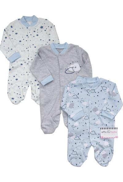 Necix's Bulutlu Yıldızlı Erkek Bebek 3'lü Tulum Takım