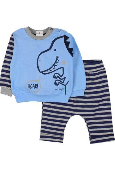 Minizeyn Dinozorlu Erkek Bebek 2 Li Eşofman Takım