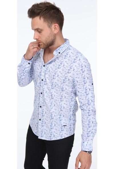 Pointback 5236 Beyaz Kare Desen Gömlek