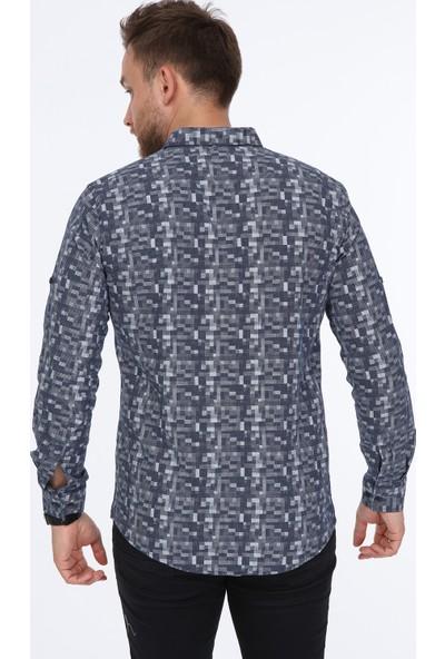 Pointback 5236 Lacivert Kare Desen Gömlek