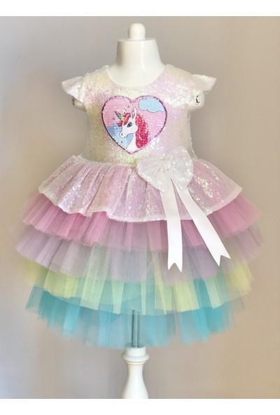 Mixie Baby Unicorn Pul Payetli Tütülü Kız Çocuk Parti Elbisesi