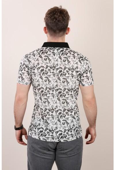 Alexandergardı Çiçek Desenlı Polo Yaka T-Shirt Lacivert E19-P2 6433
