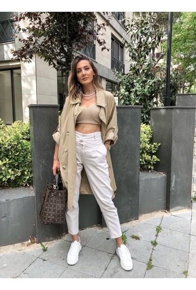 Moda Çelikler Taş Renk Yüksek Bel Mom Jean