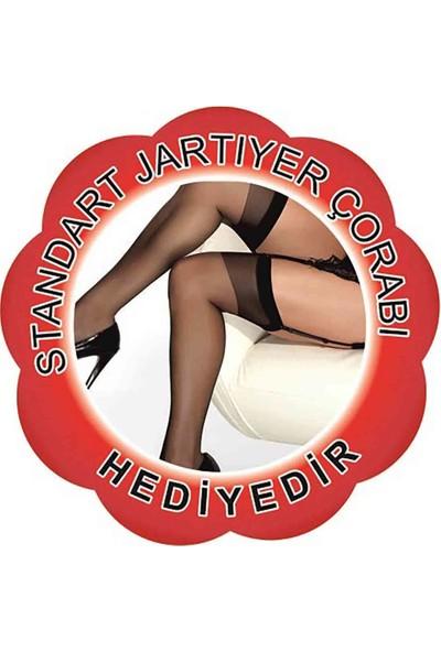 Merry See Siyah Jartiyerli Özel Bölgeleri Açık Gecelik+ Çorap