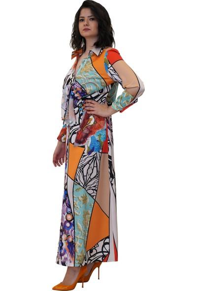 Discrete Desenli Bağlamalı Elbise