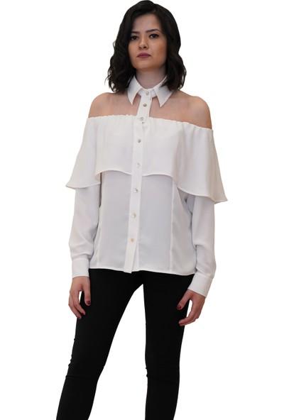 Discrete Beyaz Omzu Volanlı Gömlek