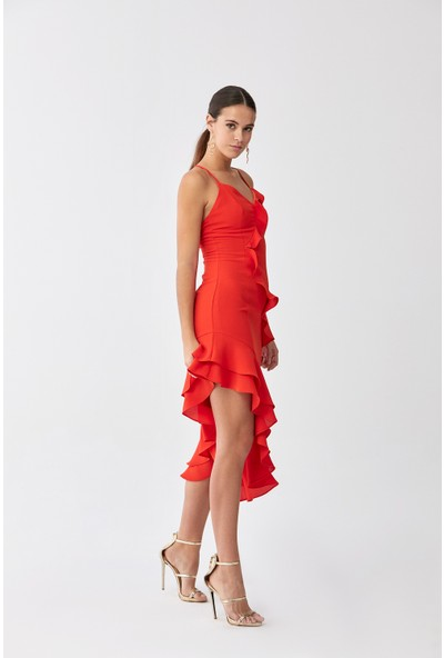 Roman Nar Çiçeği Elbise-Y2011008-112