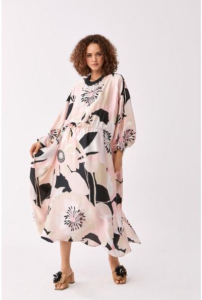 Roman Çiçek Desenli Elbise-Y2011077-089