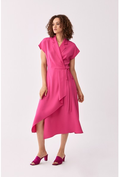 Roman Kruvaze Fuşya Elbise