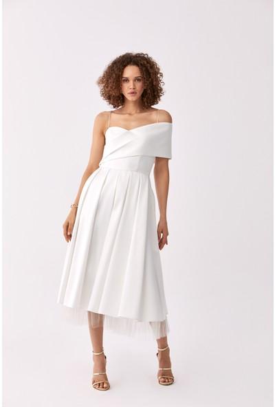 Roman Omuz Detaylı Beyaz Abiye Elbise-Y2011343-002