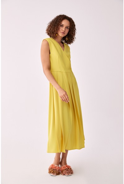 Roman Pilise Detaylı Sarı Elbise-Y2011156-009