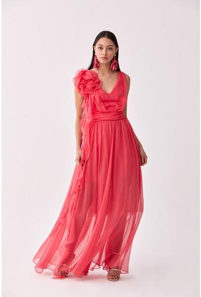 Roman Omuz Detaylı Fuşya Abiye Elbise-Y2011306-003