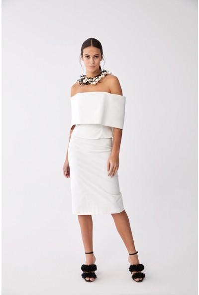 Roman Beyaz Straplez Bluz