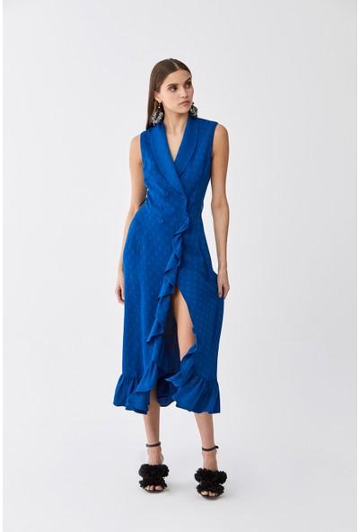 Roman Puantiye Ve Volan Detaylı Saks Elbise
