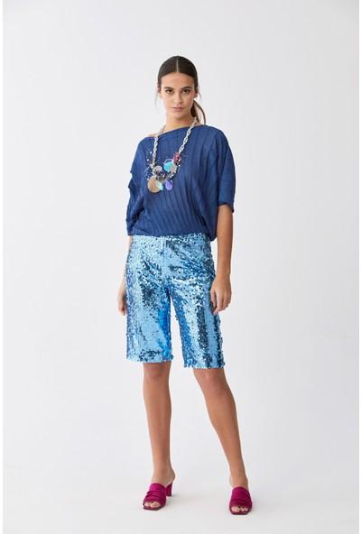 Roman Payetli Mavi Bermuda Pantolon-Y2012119-036