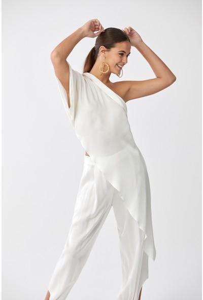 Roman Tek Omuz Beyaz Bluz-Y2013062-002