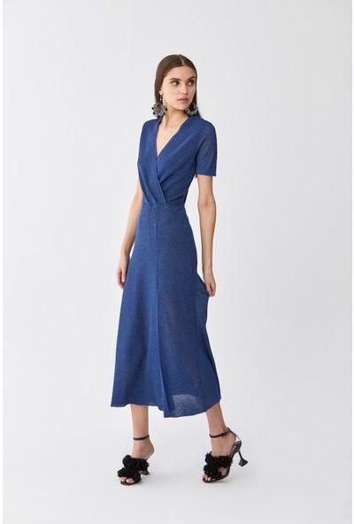 Roman Yırtmaçlı Saks Triko Elbise-Y2071005-021