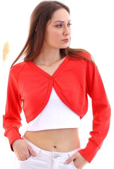Cotton Mood 20040407 Interlok Tek Düğmeli Uzun Kol Bolero Kırmızı