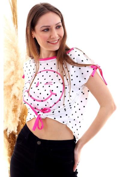 Cotton Mood 20050510 Süprem Smile Baskıl Bağlamalı Bluz Fusya