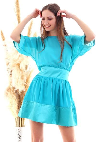 Cotton Mood 20050519 Şifon Yaka Taşlı Salash Cepli Elbise Mınt Yesılı