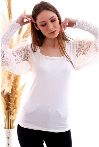 Cotton Mood 20050521 Süprem Viskon Kolu Dantel Gipeli Uzun Kol Buluz Ekru