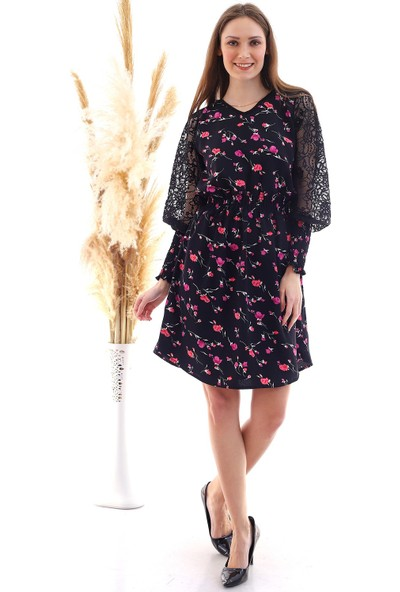 Cotton Mood 20050523 Dokviskon Beli Lastikli Kolu Dantelli Gipeli Elbise Sıyah-Mor