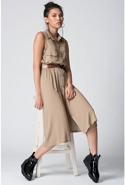 Cotton Mood 20054503 Şile Bezi Cepli Kolsuz Uzun Elbise Vızon