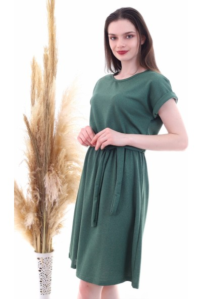 Cotton Mood 9292931 Ikiiplik Beli Lastikli Yarasa Kol Elbise Hakı
