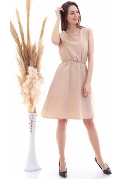 Cotton Mood 9315020 Dok.viskon Desenli Cepli Kolsuz Elbise Bej