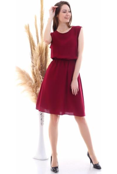 Cotton Mood 9315020 Dok.viskon Desenli Cepli Kolsuz Elbise Bordo