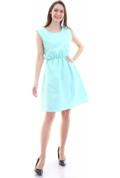 Cotton Mood 9315020 Dok.viskon Desenli Cepli Kolsuz Elbise Mınt