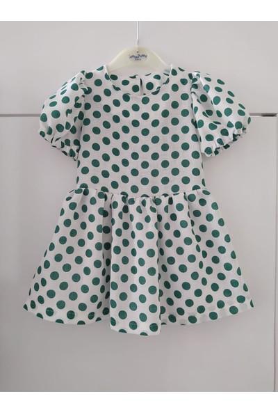 Inci Mercan Kız Çocuk Yeşil Benek Desenli Elbise