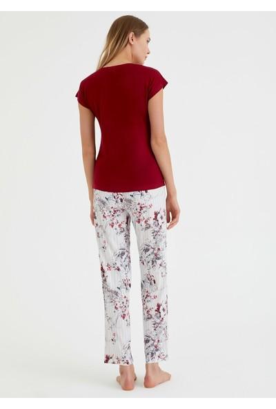 Suwen Summer Night Pijama Takımı - Bordo