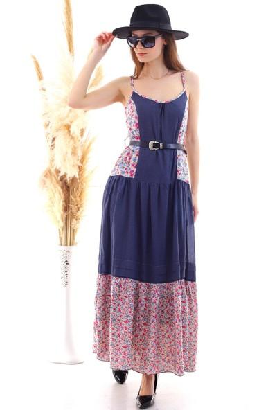 Cotton Mood 20050505 Dokuma Çiçek Desenli Askılı Uzun Elbise Lacivert Çıçek Desen