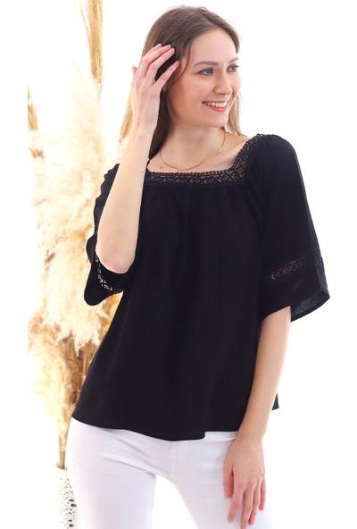 Cotton Mood 20050520 Şile Bezi Kare Yaka Bluz Siyah